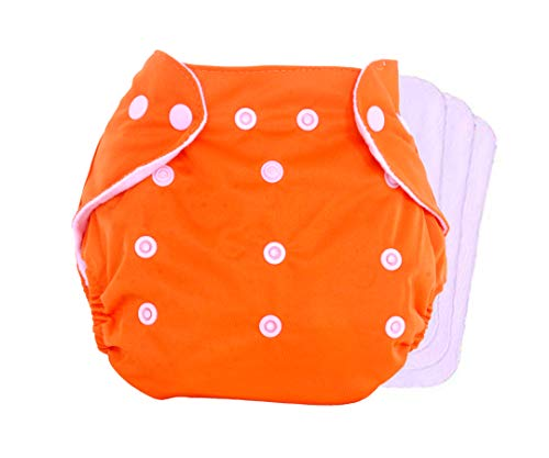 THE LITTLE LOOKERS ® Adjustable Cotton Pocket and Reusable Baby Washable Cloth Diaper with 3 Wet-Free Inserts, Age 0 to 2 Years, 1 Reusable Diaper with 3 Inserts (Random Colour) (Baby Product)