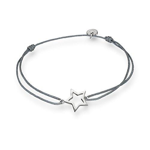 Glanzstücke München Damen-Textilarmband grau Stern Sterling Silber 15-22 cm - Armbändchen Armband mit Anhänger Stoffbändchen Armkettchen Textil