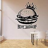 Best Burgers - Adhesivo decorativo para pared, diseño con texto en inglés 'Words Lettering Crown Fast Foods' (42 x 36 cm)