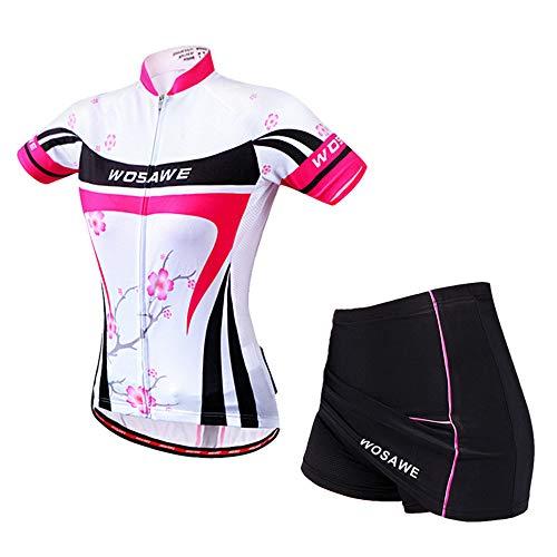 WOSAWE Damen Kurzarm Fahrradbekleidung Anzug Radtrikot + Atmungsfähiges Fahrrad Shorts Röcke mit 3D Sitzpolster im Sommer (Pflaumeblume L)