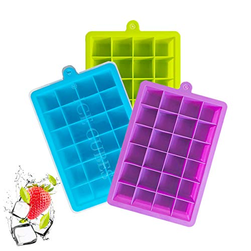 Ice Cube Trays 3 Pack, Silicone Ice Tray with Removable Lid Easy Release Crushed Ice Trays Stackable 24 Cavities Flexible Ice Cube Molds for Cocktail, Whiskey, Chocolate, BPA Free