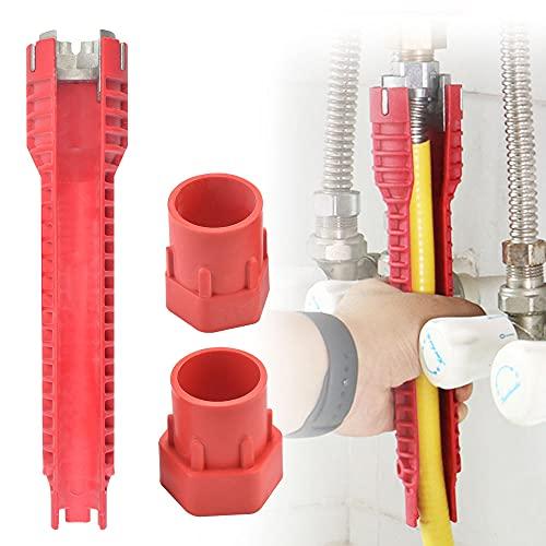 QUCUMER Waschbecken Wasserhahn Installer Werkzeug 25*5cm Doppelkopfschlüssel Multifunktionaler Spülenschlüssel Sanitärwerkzeug Mehrzweck Schraubenschlüssel für Toilettenschüssel Wasserhahn Küche Bad