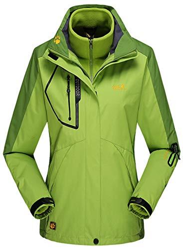CORAFRITZ Wasserdichte 3-in-1-Skijacke für Damen, Winter, warm, Windbreaker, langärmelig, mit Fleece-Innenseite Gr. 52, grün
