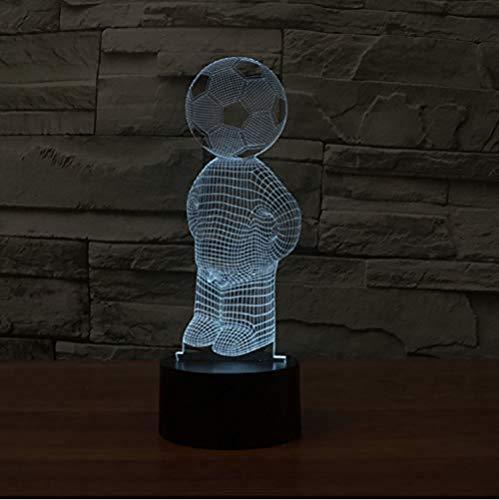 ZWANDP Schlafzimmer Home Decor Led 3D Tischlampe Fußball Menschen Modellieren 7 Farbwechsel Fußball Nachtlicht Baby Schlaf Beleuchtung Fans Geschenk