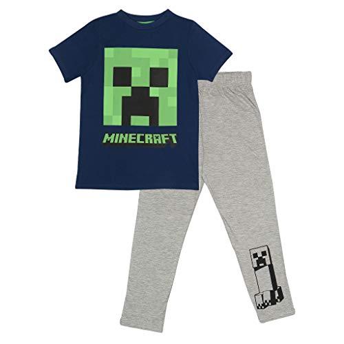 Popgear Minecraft Schlingpflanze Mädchen Langer Pyjama Set Blau/Weiß Heather Grey 134   PS4 PS5 Xbox Gamer Geschenke, School Girls PJs, Kinderkleidung, Kindergeburtstags-Geschenk-Idee