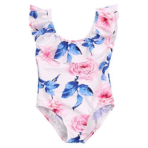 HO-TBO Badpak uit één stuk voor meisjes, kleine meisjes bedrukking badmode een stuk bikini set badpakken voor strand blauw eenvoudig te reinigen
