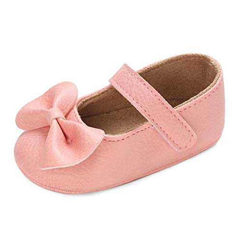 LACOFIA Baby Krabbelschuhe Kleinkind Mädchen rutschfest Bowknot Prinzessin Mary Jane Schuhe Rosa 12-18 Monate ( Hersteller Größe: 3)