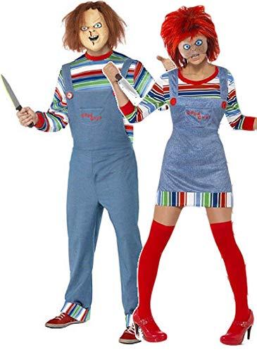 Fancy Me Damen und Herren Chucky Puppe Film Paar Halloween Horror Kostüm Verkleidung Outfit - Mehrfarbig, Ladies UK 12-14 & Mens Medium, Mehrfarbig