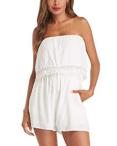 Auxo Womens Short Romper Summer Off Shoulder Strapless Lace Crochet One Piece Jumpsuit Jumper Sleeveless Playsuit White S