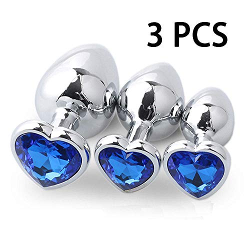3 Pcs Set Stainless Gem Metal Steel Bûtt Pl'ugs for Women Men and Beginner Best Gift Änàles Plùgs Diamonds Design Luxury Jeweled Crystal Design Toy