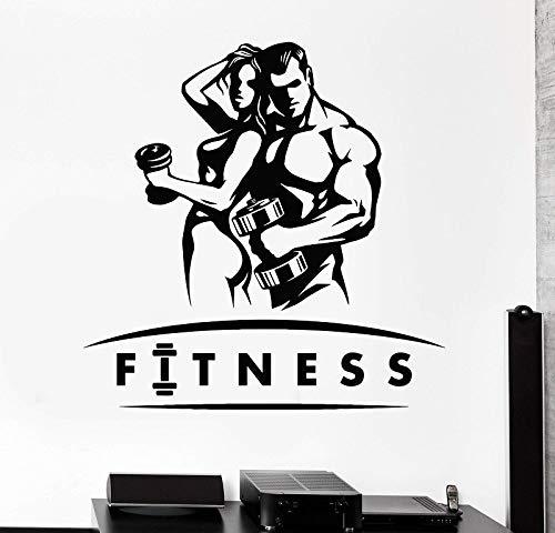 Zelfklevende muurstickers ter decoratie van de sportschool en de sportschool van vinyl met fysieke vorm van houten kop en sterke spieren, voor meisjes