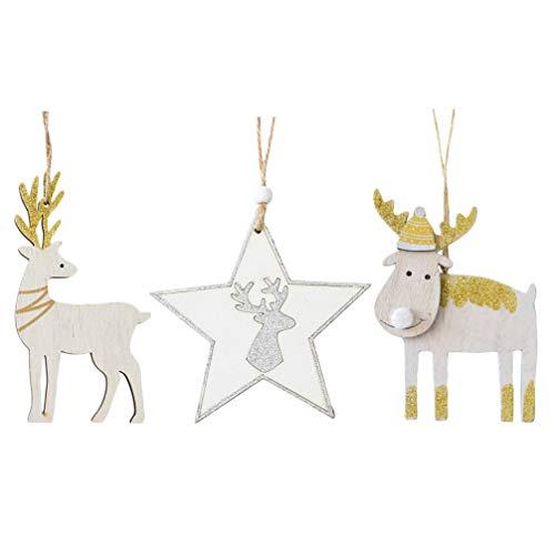 KESYOO 3 Peças de Rena Enfeites de Natal Natal de Madeira Glitter Estrela Alce Rena Natal árvore de Natal Enfeites Pendurados Enfeites de Natal Etiqueta de Presente de Natal para Loja de
