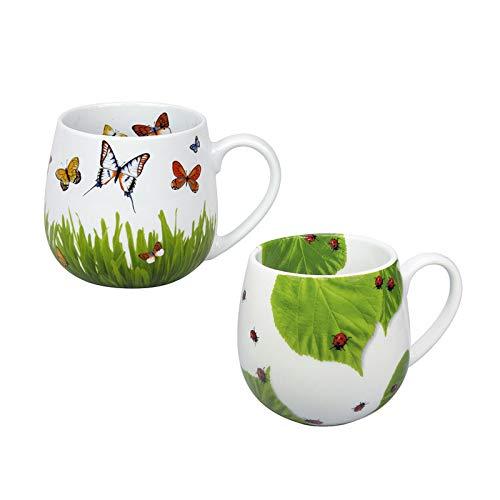 """Könitz Porzellan Kaffee Becher Set 2 teilig """"Frühlingswiese und Marienkäfer schönes Kuschelbecher Kaffee Tassen Set, ideal auch als Tee Tasse oder Kakao Tasse, prima Geschenkidee, Mindestbestellwert"""