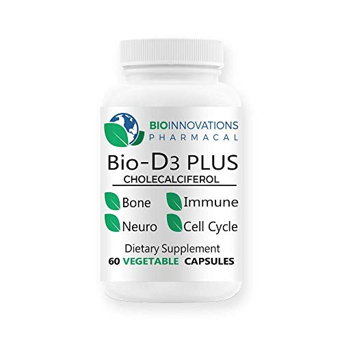 Bio-Innovations Pharmacal Bio-D3 Plus Boron Vitamin K2 Magnesium & Zinc-Supports Cardiovascular Nerves Muscles Bone Teeth Gums Immune Health Tissue Repair Balance Hormones Metabolism 60 Vegan capsules