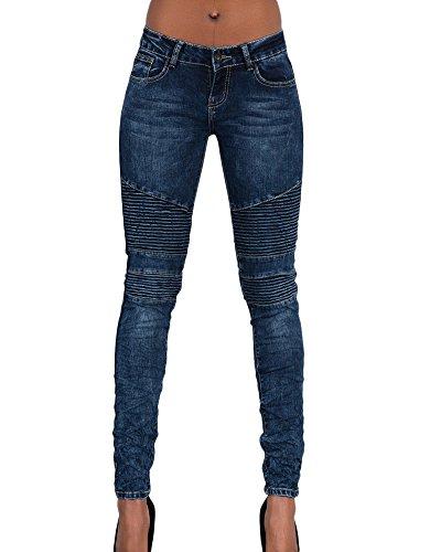 Kasen Mujer Pantalones Vaquero Skinny Push Up Pantalones Elástico Jeans Azul Marino M
