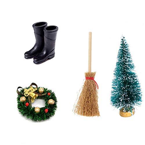 Casa De Muñecas Corona De Navidad Escoba De Alta Botas De Lluvia Del Árbol De Cedro De Navidad Negro Accesorio Para La Decoración Herramienta Práctica