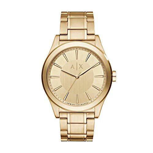Armani Exchange Nico - Reloj análogico de cuarzo con correa de acero inoxidable para hombre, color dorado