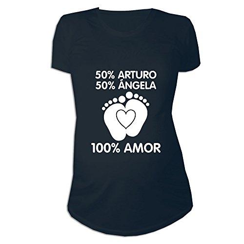 Regalo Personalizable para Mujeres Embarazadas: Camiseta porcentajes Personalizada con los Nombres de la Madre y del Padre del bebé (Negro)