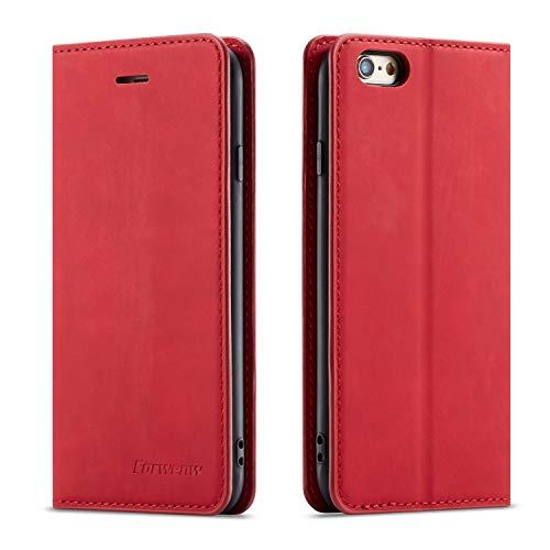 QLTYPRI Hülle für iPhone 6 iPhone 6S, Premium Dünne Ledertasche Handyhülle mit Kartenfach Ständer Flip Schutzhülle Kompatibel mit iPhone 6 iPhone 6S - Rot