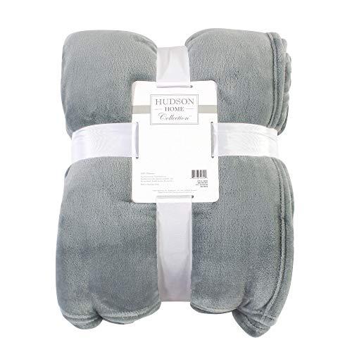 Hudson Baby Home Silky Plush Blanket, Gray Fleece, 60X80 in. (Oversize Throw) (59249)