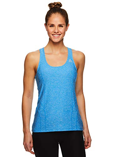 Reebok Women's Running & Workout Tank Top - Dynamic Fitted Performance Racerback Active Gym Shirt - Dyna Blithe Heather, Large