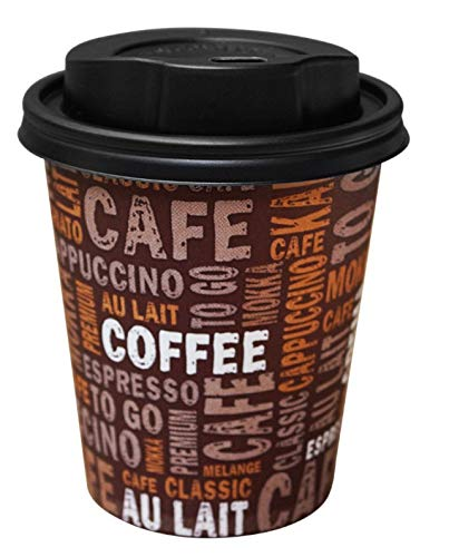 Gastro-Bedarf-Gutheil Kaffeebecher Pappe 300ml / 12oz Pappbecher Einwegbecher EINWEG Coffee to go 0,3 L Top Becher mit schwarzen Deckel (50, 300ml)