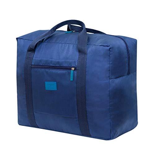 KKRIIS Bolsa de Viaje Plegable y Plegable Gran Almacenamiento Impermeable Paquete de Mano Organizador Entrega de Bolsas de Almacenamiento de Hombro, Azul Oscuro