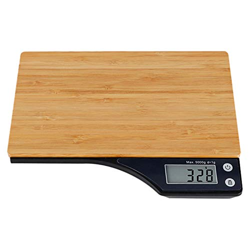 LQKYWNA Balance De Cuisine Numérique Balance De Pesée électronique en Bois avec Grand écran LCD à Plate-Forme pour La Cuisson à Domicile