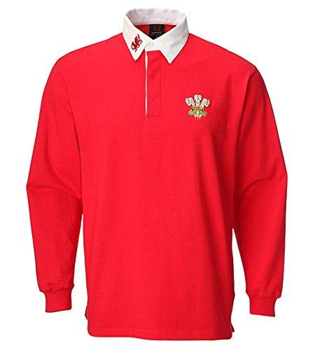 Rugby-Shirt Wales, Unisex, Erwachsene, mit Kragen, langärmlig, S, M, L, XL, XXL, 3XL, 4XL, 5XL Gr. XXXL, rot / weiß