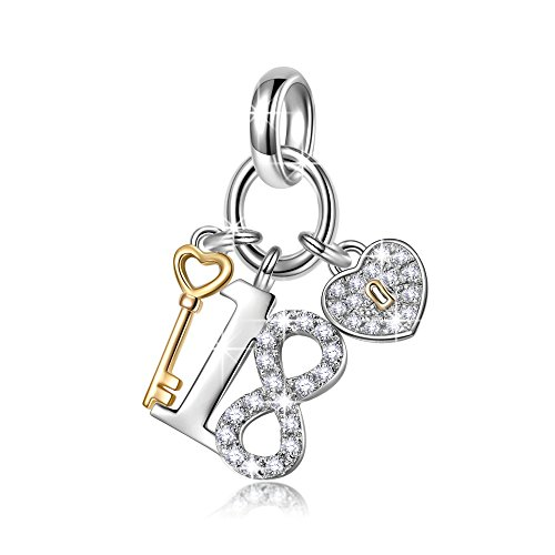 NINAQUEEN Charm fit pandora charms Eighteen Two tone Women's jewellery best gifts with Jewellery Box 925 Sterling Silver Antibacterial Properties