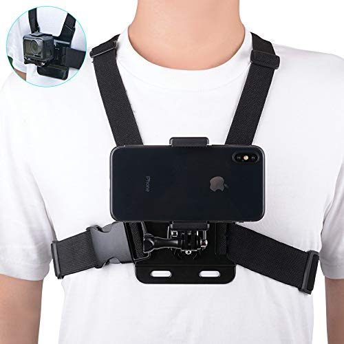 Mobile Phone Chest Strap Mount Harness Strap Holder Shoulder Vest Mount Bracket Adapter for Action Camera POV Compatible with Gopro Akaso Samsung iPhone etc JPL031