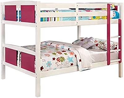 247SHOPATHOME IDF-BK623PK-F Bunk Bed Full Over Full Pink