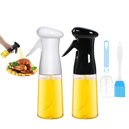 CBGGQ 2 Stück Olivenöl Sprüher, Öl Sprüher zum Kochen, BBQ Kochen Sprühflasche, Öl Spritze, 7oz / 210ml Öl Sprayer Flasche für Küche, Kochen, Backen, Grillen, Braten, Salat, mit Bürste (Schwarz+Weiß)