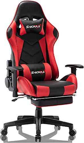 SHIONNA Silla Gaming Racing Silla Gamer de ErgonomicaOficina Cuero Ordenador Gamer Silla Oficina Racing Sillon Gamer Racer X Profesional Videojuegos PC (Red)