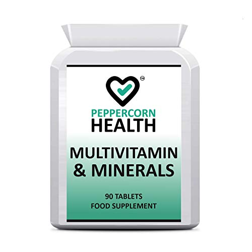 Multi-Vitamin & Minerals, Tablets for Men & Women with Essential Vitamins & Minerals. 3 Months Supply, one-a-Day. Suitable for Vegetarians. Peppercorn Health