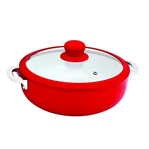 IMUSA USA CHI-00071R 3.2Qt Red Ceramic Nonstick Caldero (Dutch Oven) with Silicone Rim & Glass Lid