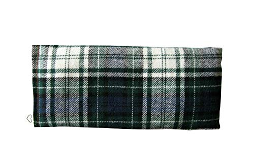 Scented Yoga Eye Pillow - Lavender Flax Seed - 4 x 8.5 - Soft Cotton Flannel Plaid - Organic - Naturally Soothing - Green Blue White