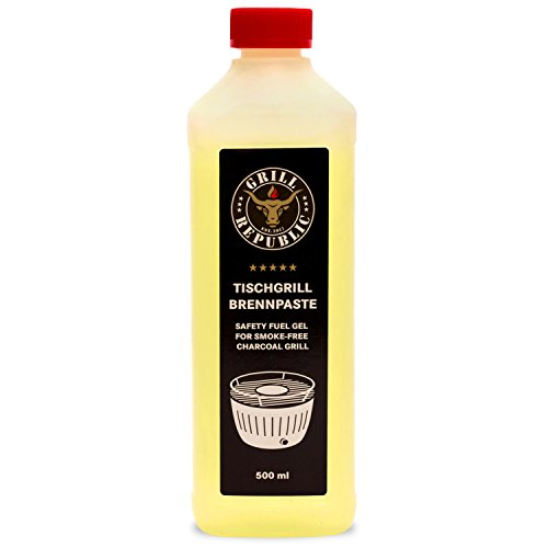 Grill Republic Hochwertige Brennpaste aus Ethanol für den Tischgrill 500ml / schnelles Anzünden und hohe Brennleistung garantiert/Brenngel in Premium-Qualität