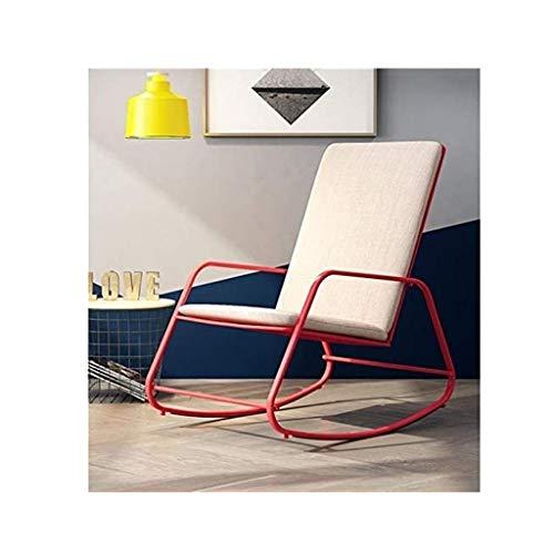 lilizhang Hauptdekoration Indoor/Outdoor-Möbel Schaukelstuhl Adult Rocker Lounge Chair Faul Einfach Lässige Sessel Balkon Garten Schaukelstuhl (Color : Red)