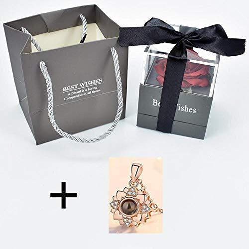 Ontvouw bloem roos Sieradendoos met verrassing 100 talen Ik hou van je Ketting Vreemde cadeau voor moeder vriendin, doos met ketting 11