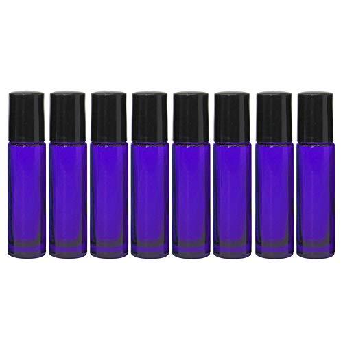 8unidades, Essential naturaleza, azul botellas de cristal (no pintada) con Metal rodillos, 2pipetas, 48etiquetas. 10ml 1/3oz, alta calidad para aceites esenciales, perfumes, cristal. Sin BPA
