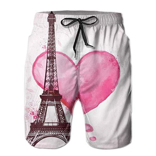 Men's Big and Tall Swim Trunks Beachwear Drawstring Summer Holiday,Eiffel Romantic Valentine Love Watercolor Themed Heart Leaf Silhouette Print,XL,3D Print Shorts Pants