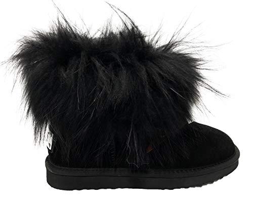 OOG Boots echtes Fell & Leder Schuh Damen Fellstiefel Bommel Winterstiefel Pelz (37 EU, Schwarz)