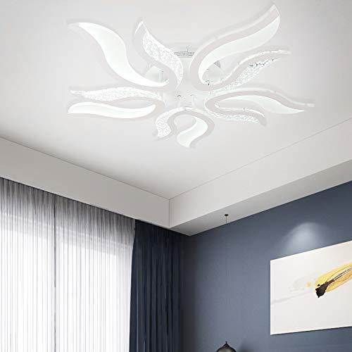 Ganeed Moderno Plafoniera a LED, Lampadario Soggiorno LED da 50W, Lampadari a Forma di Fiamma Acrilica Lampada da Soffitto per Camera da Letto Cucina Sala da pranzo Ufficio, Bianca Fredda 6500K