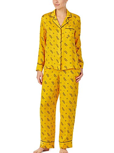 DKNY I Am Logo Yellow PJ Set mit Logo-Print Gr. X-Small, gelb