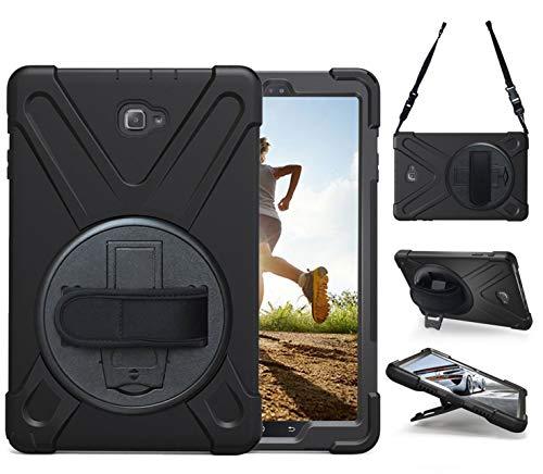TEKNET Case Funda Resistente a Golpes para Samsung Galaxy Tab A 10.1 con S-Pen SM-P580 con Correa Uso rudo (Negro-)
