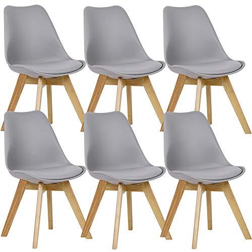 WAFTING 6er Set Esszimmerstühle Gepolsterter Stuhl mit Buchenholz-Beinen und Weich Gepolsterte Tulip Chair für Esszimmer Wohnzimmer Schlafzimmer Küche Besprechungsraum, (Gepolstert Grau)
