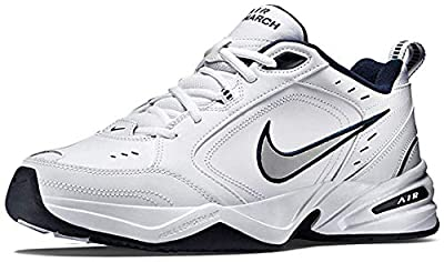 Nike Men's Air Monarch IV Cross Trainer, White/Metallic Silver/Midnight Navy, 10.5 Regular US