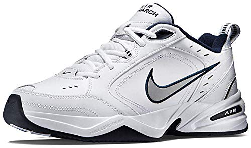 Nike Men's NIKE AIR MONARCH IV (4E) RUNNING SHOES -9.5; White / Metallic Silver-Midnight Navy