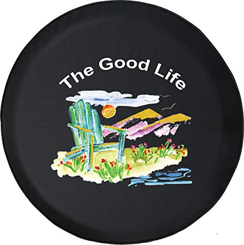 Not Applicable Reifenabdeckungen,American Unlimited Spare Tire Cover Der Good Life Aquarell Strandkorb Und Mountains Summertime Sunset,60-69cm